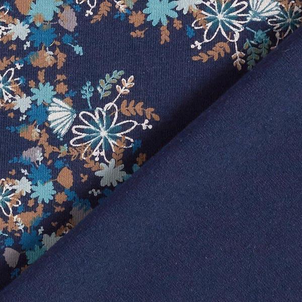 Jersey coton Petites fleurs d'automne – bleu marine