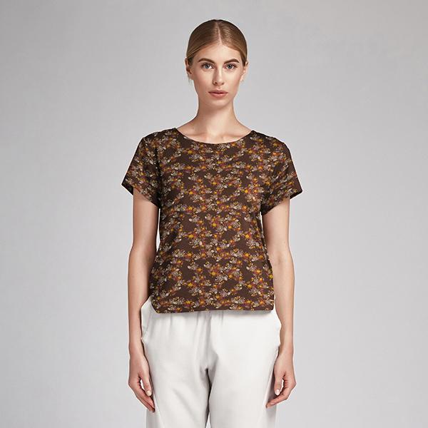 Jersey coton Petites fleurs d'automne – marron