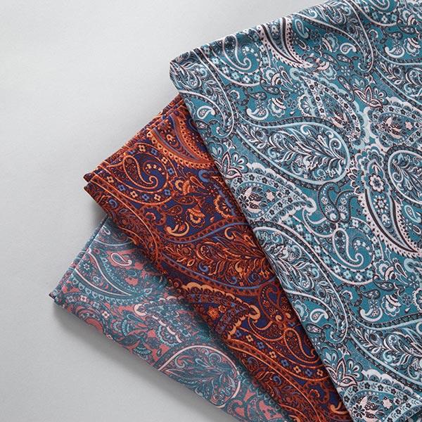 Jersey coton Paisley – bleu marine/rouge rouille