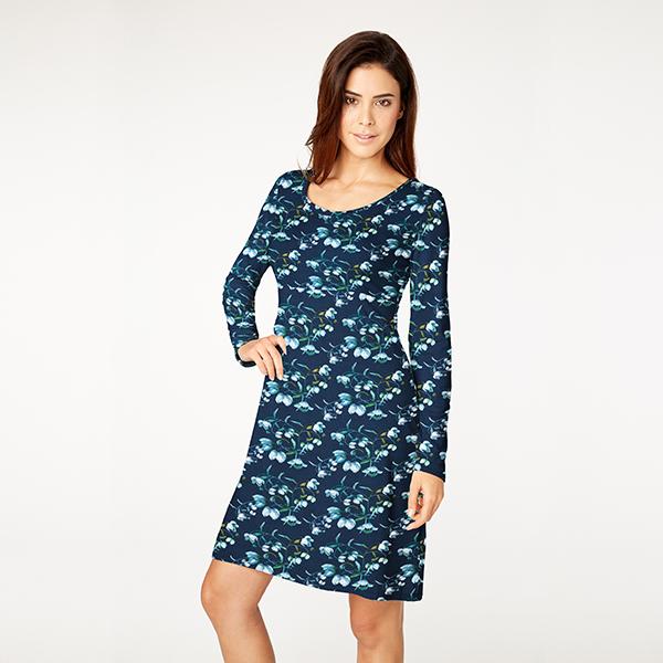 Jersey viscose Branches de magnolia – bleu marine