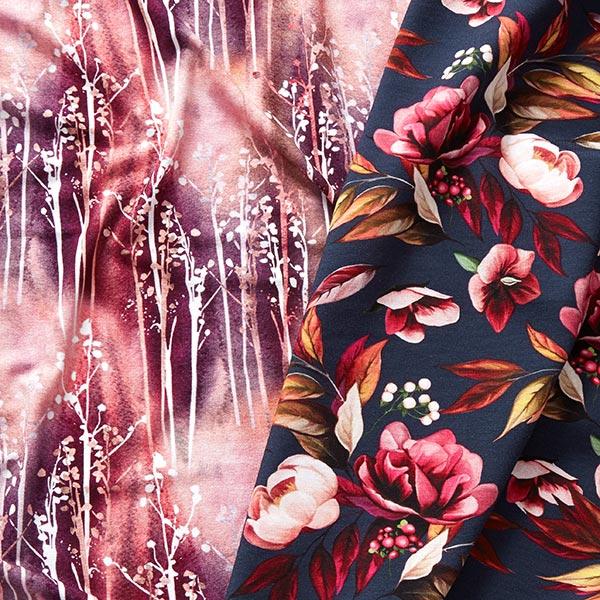 Jersey viscose Bouquets batik – vieux rose