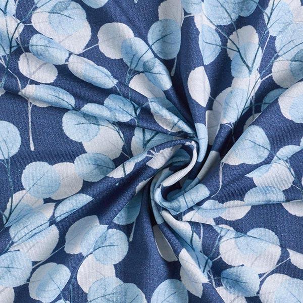 Jersey viscose Feuilles pastel – bleu marine