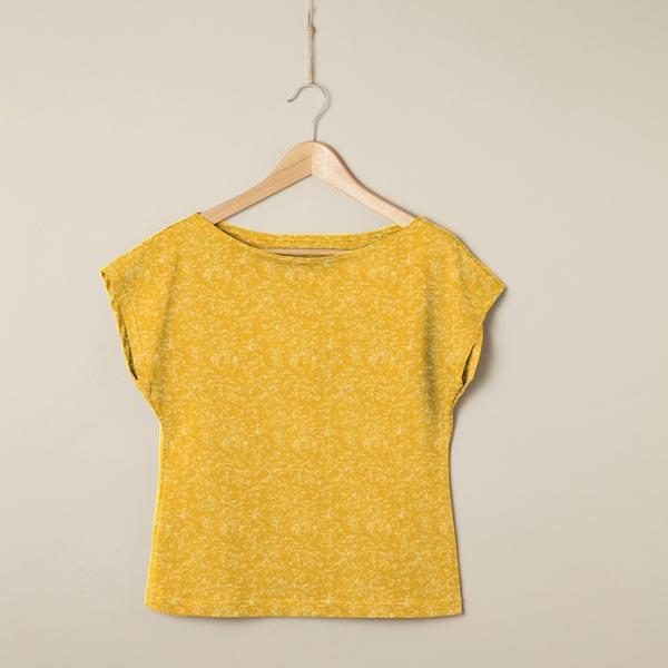 Jersey coton apparence de marbre – jaune