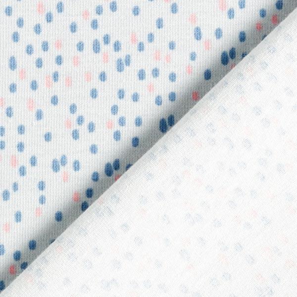 Jersey coton Tâches de gouttes – gris clair/bleu jean