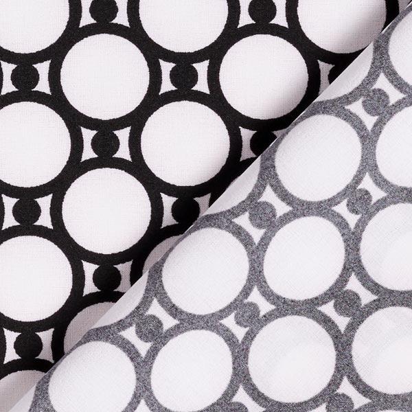 Tissu pour chemisier Motif de cercles – blanc/noir