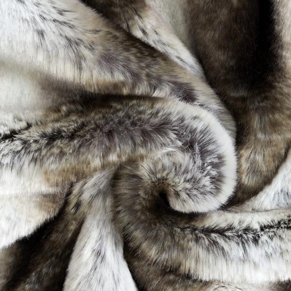 Fourrure synthétique Aspect Seersucker – écru/marron