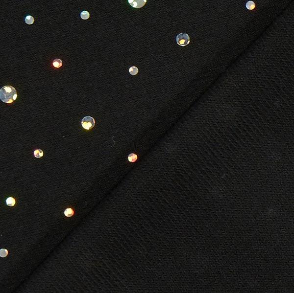 Tissu jersey à paillettes holographiques – noir