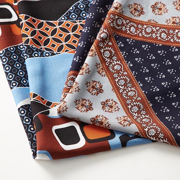 Tissu pour chemisier Viscose Grand motif ethnique – bleu/marron