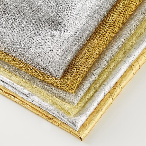 Tulle métallisé Toile d'araignée – or