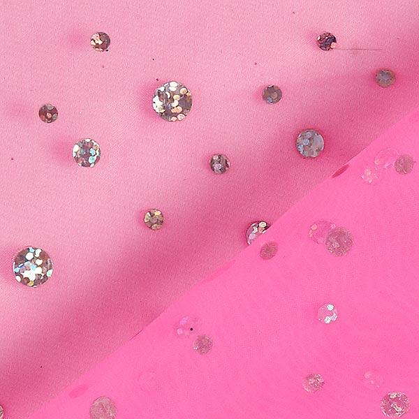 Organza hologramme Paillettes – rose néon
