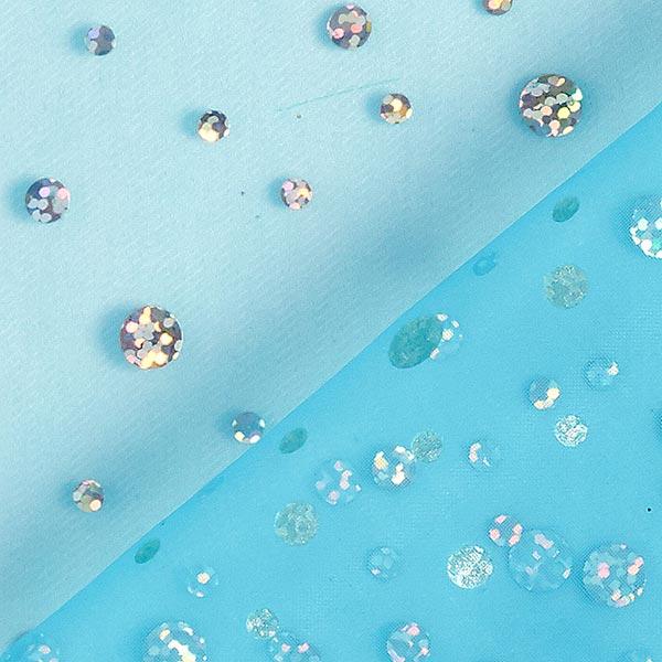 Organza hologramme Paillettes – bleu turquoise
