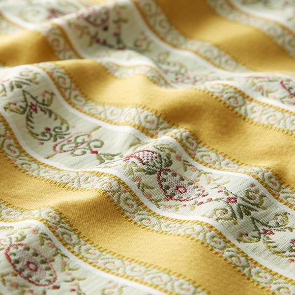 Tissu d'ameublement jacquard Rayures Biedermeier – crème/jaune orangé
