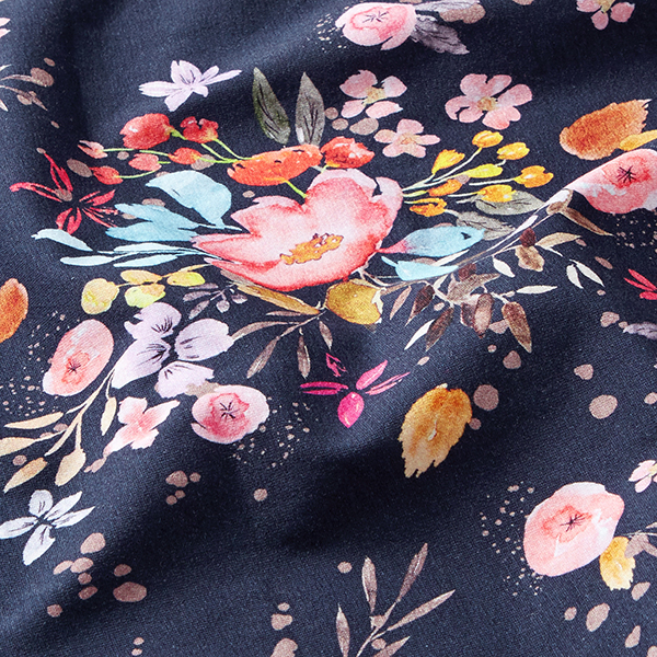 Jersey coton Flowermix   Contest Collection – navy