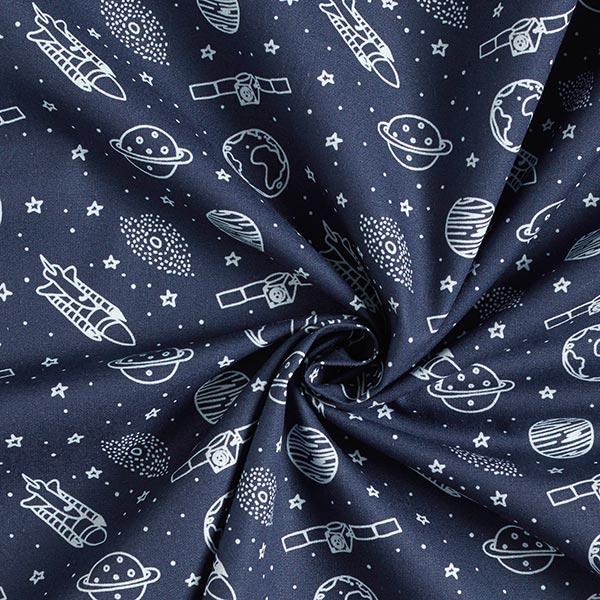 Popeline coton Espace | PETIT CITRON – bleu marine