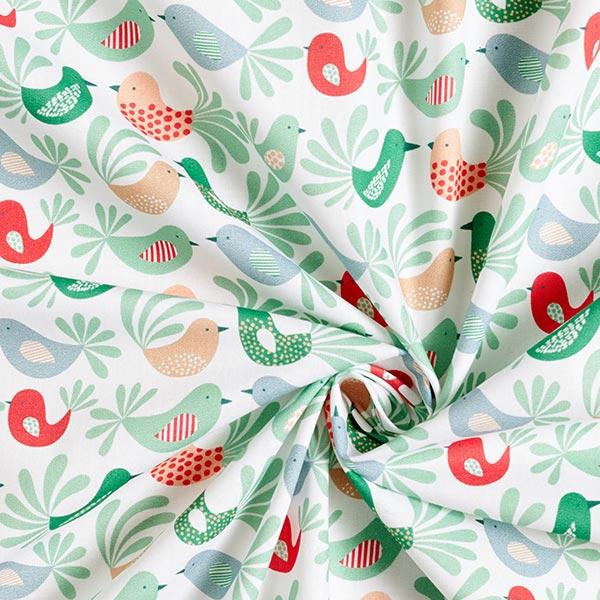 Popeline coton Oiseaux | PETIT CITRON – vert menthe