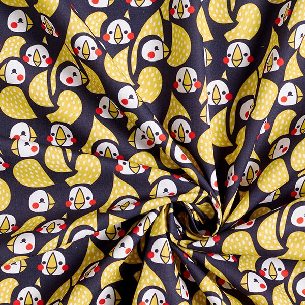 Baumwollpopeline Papageienvögel | PETIT CITRON – navy/gelb