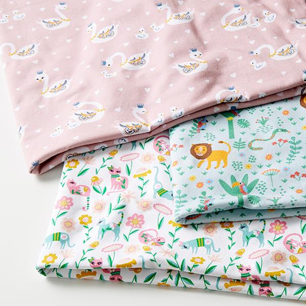 Jersey coton Famille de cygnes | Petit Citron – rose