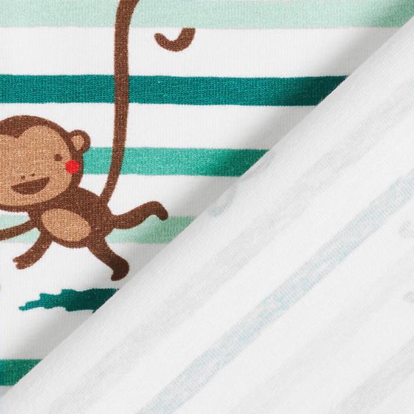 Baumwolljersey lustige Affen und Pinsel-Streifen   PETIT CITRON – wollweiss/mintgrün