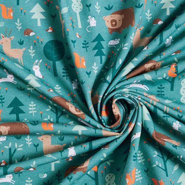 Jersey coton Adorables animaux forestiers| PETIT CITRON – pétrole