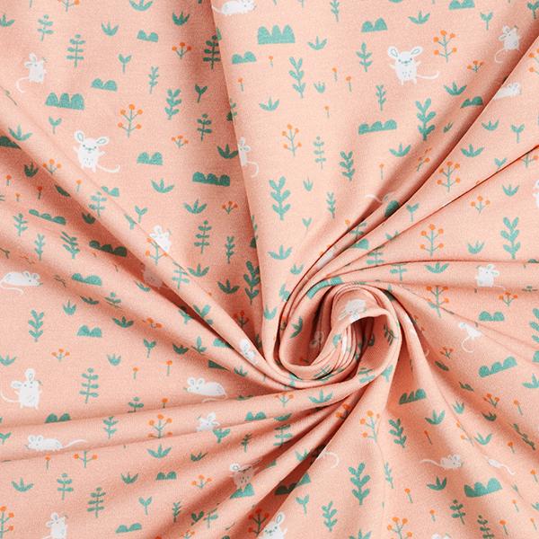 Jersey coton Panel Amis de la forêt des animaux | PETIT CITRON – rose