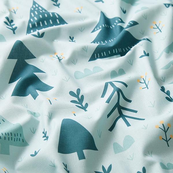 Coton Popeline Promenade en forêt | Petit Citron – vert menthe