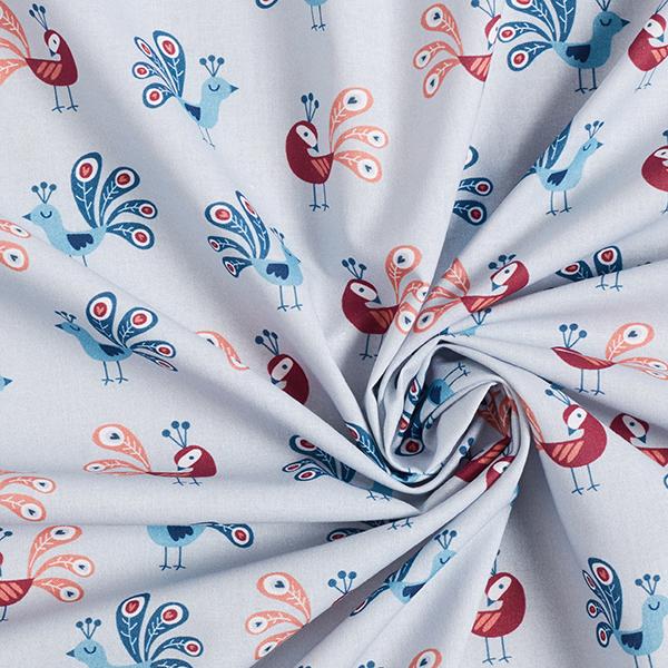 Coton Popeline Défilé des paons   PETIT CITRON – gris bleu