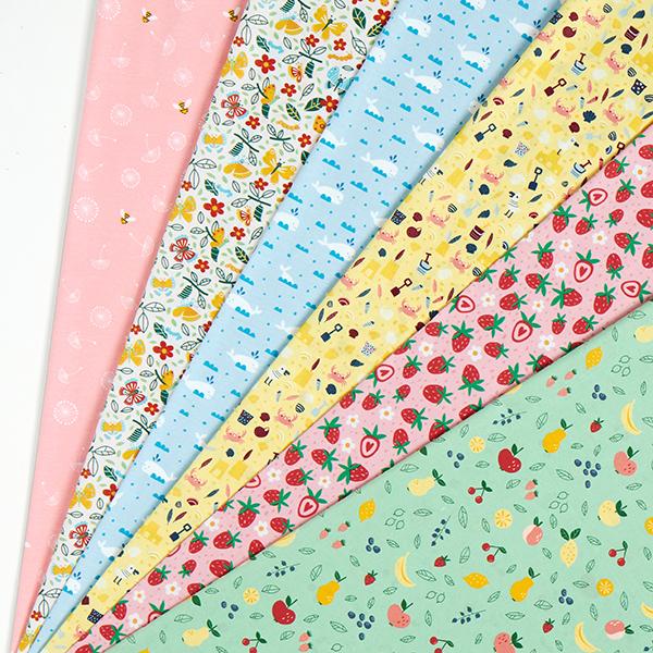 Jersey coton Abeilles et fleurs de pissenlit   PETIT CITRON – rose