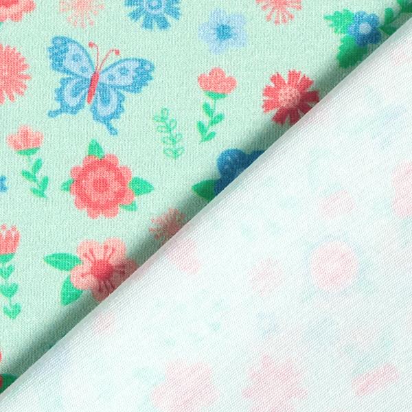 Jersey coton Panel Prairie de papillons   PETIT CITRON – vert menthe