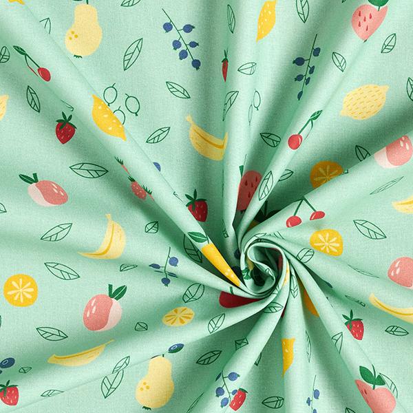 Popeline coton Salade de fruits | PETIT CITRON – vert pastel
