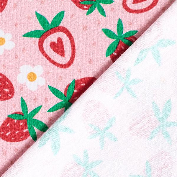 Baumwolljersey süße Erdbeeren   PETIT CITRON – rosa