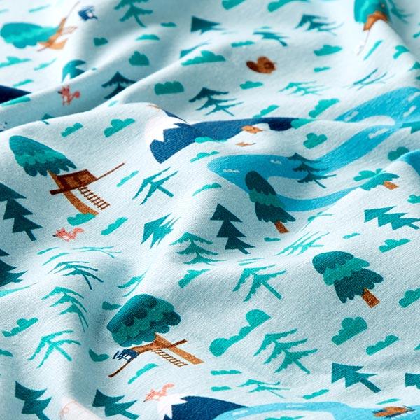 Jersey coton Paysage fluvial | PETIT CITRON – bleu bébé/turquoise