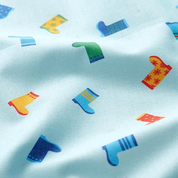 Baumwollpopeline kunterbunte Gummistiefel   PETIT CITRON – aquablau