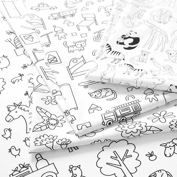 Tissu à colorier Popeline coton Ferme | PETIT CITRON – blanc/noir