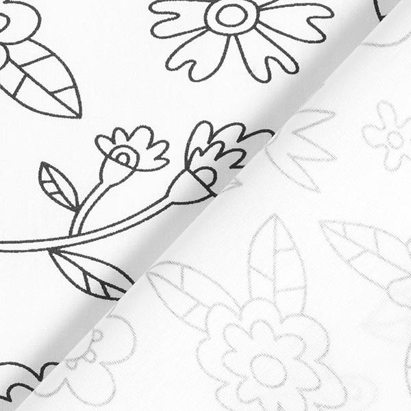 Ausmalstoff Baumwollpopeline Blumenwiese   PETIT CITRON – weiss/schwarz