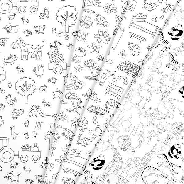 Tissu à colorier Popeline coton A la maison   PETIT CITRON – blanc/noir