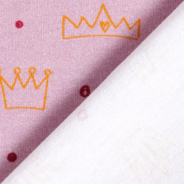 Jersey coton Petites couronnes | PETIT CITRON – violet pastel/pourpre
