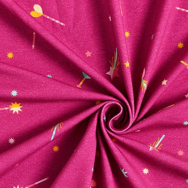 Baumwolljersey Zauberstäbe | PETIT CITRON – purpur/gelb
