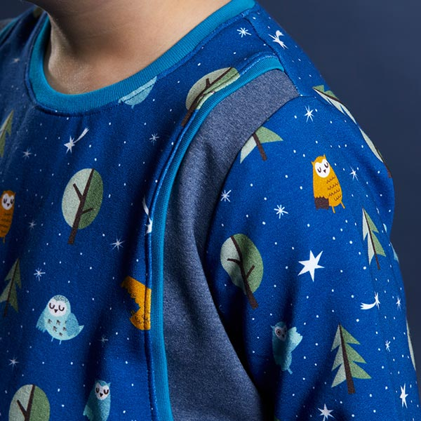 Sweatshirt angeraut Eulenwald   PETIT CITRON – königsblau/weiss
