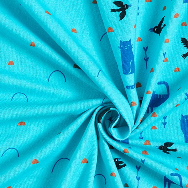 Jersey coton Panel Chat espiègle  | PETIT CITRON – turquoise/marron clair