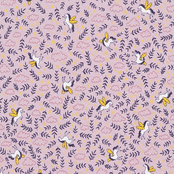 Jersey coton Panel Pegasus  | PETIT CITRON – violet pastel/blanc