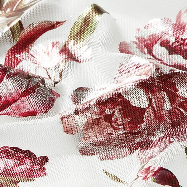Softmesh Roses Imprimé brillant – blanc/rouge bordeaux