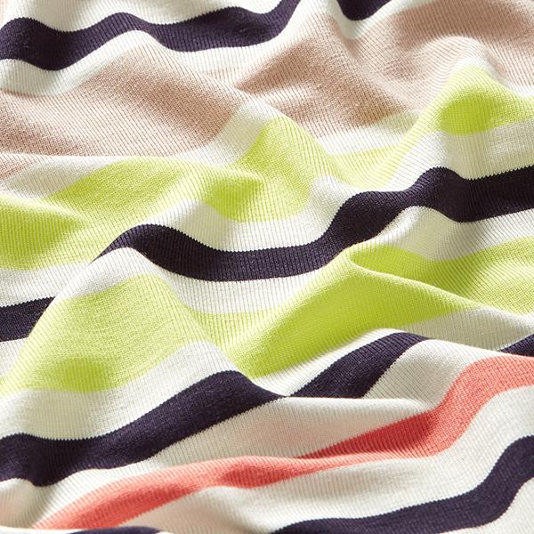 Jersey viscose Rayures horizontales – saumon/beige