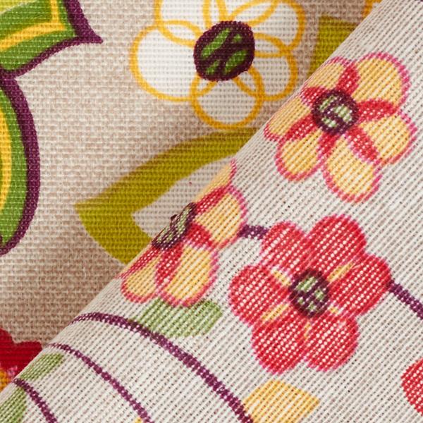 Tissu de décoration CanvasFleurs rétros – nature