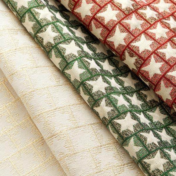 Tissu de décoration Jacquard Étoiles – rouge/or