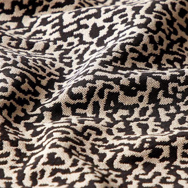 Tissu d'ameublement Jacquard Motif léopard abstrait, grand – noir/sable