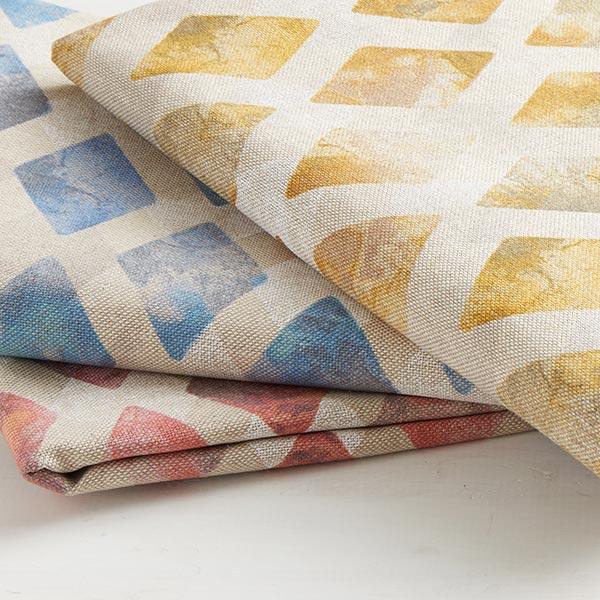 Tissu de décoration semi-panama Darien – beige/bleu