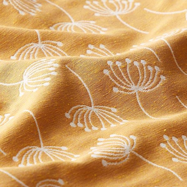 Tissu d'ameublement Jacquard Fleurs de pissenlit – moutarde