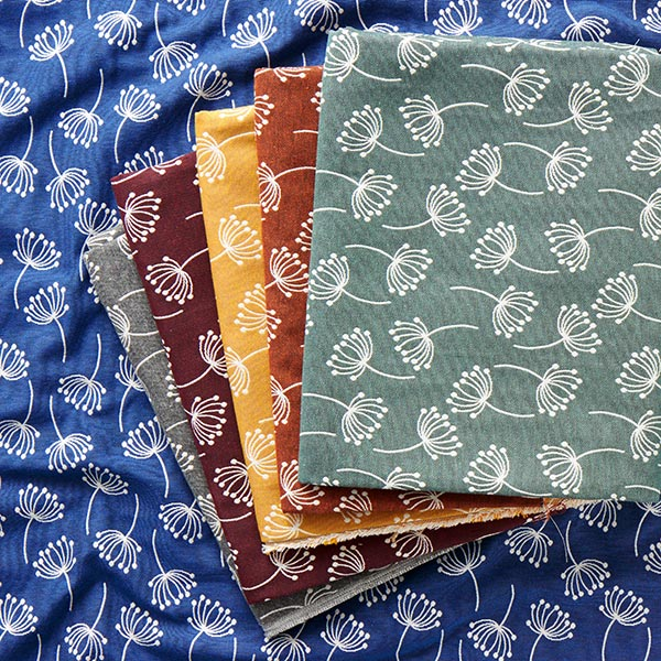 Tissu d'ameublement Jacquard Fleurs de pissenlit – bleu
