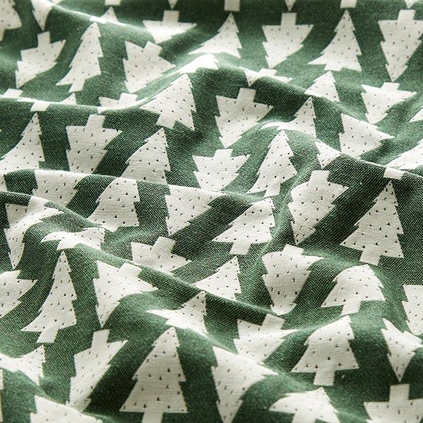 Tissu de décoration Jacquard Sapin de Noël – vert/écru