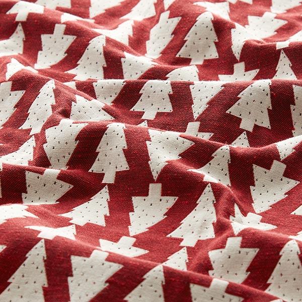 Tissu de décoration Jacquard Sapin de Noël – carmin/écru